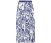 Grosgrain-trimmed Pleated Printed Crepe De Chine Midi Skirt