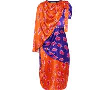Woman Layered Button-detailed Printed Silk-satin Dress Violet