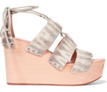Snake-print leather wedge sandals