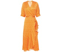 Kweller Wickelkleid aus Satin mit Print