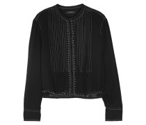 Pelona Beaded Pleated Cotton-gauze Blouse Schwarz