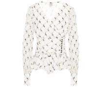 Matinez Bedruckte Bluse aus Krepon mit Schößchen und Raffungen