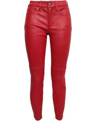 Cropped Stretch-leather Skinny Pants Claret  4