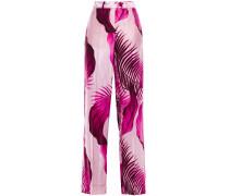 Woman Zelos Printed Satin Wide-leg Pants Baby Pink