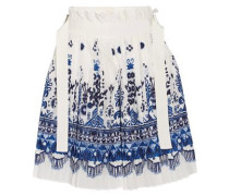 Twill-trimmed pleated printed voile shorts