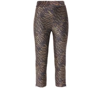 Cropped Metallic Tiger-print Stretch-jersey Leggings