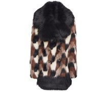 Faux Leather-trimmed Faux Fur Coat