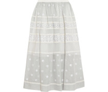 Lizette Embroidered Cotton And Silk-blend Organdy Midi Skirt Grau