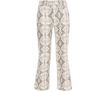 Vintage Cropped Snake-print High-rise Bootcut Jeans