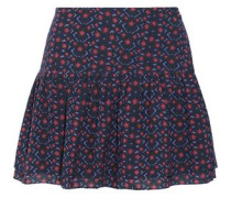 Lucette pleated printed cotton-blend broadcloth mini skirt