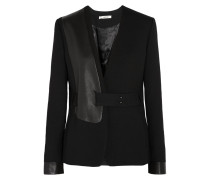 Odilie Leather-paneled Stretch-twill Blazer Schwarz