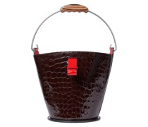 Glossed Croc-effect Leather Bucket Bag
