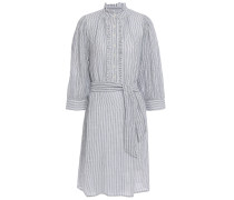 Ruffle-trimmed Striped Cotton-jacquard Dress