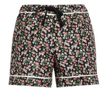 Grosgrain-trimmed floral-print silk-twill shorts