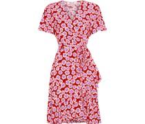 Estrella Ruffled Floral-print Crepe Mini Wrap Dress