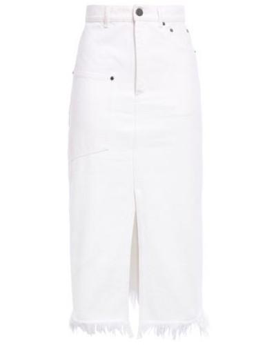 Split-front Frayed Denim Midi Skirt White