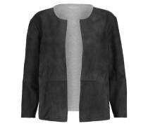 Suede-paneled Cotton-jersey Cardigan Grau