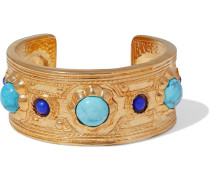 24-karat -plated, Turquoise And Stone Cuff