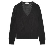 Fringe-trimmed Pointelle-knit Sweater Schwarz