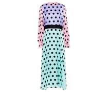 Marley Maxikleid aus Seidensatin mit Polka-dots in Colour-block-optik