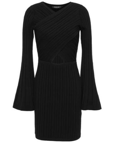 Cutout Ribbed-knit Mini Dress Black