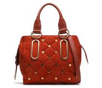 Studded quilted suede shoulder bag