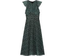Ruffled fil coupé organza dress