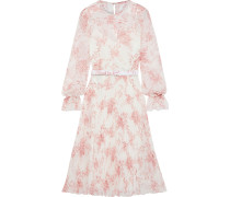 Belted Pleated Floral-print Chiffon Dress