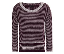 Gerippter Pullover aus Einer Wollmischung mit Streifen