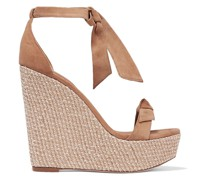 Clarita 120 Bow-embellished Suede Wedge Sandals