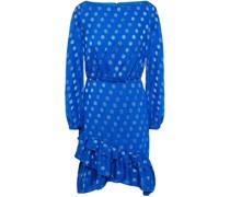 Minikleid aus Jacquard mit Polka-dots und Rüschen