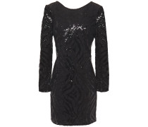 Open-back Sequined Lace Mini Dress