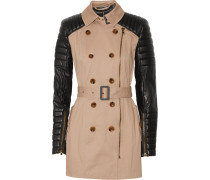 Keanu Quilted Faux Leather And Cotton Trench Coat Sand