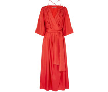 Woman Tessa Off-the-shoulder Silk-habotai Wrap Maxi Dress Tomato Red