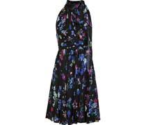 Lydia Pleated Floral-print Silk Crepe De Chine Dress