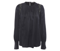 Lace-trimmed Stretch-silk Satin Blouse