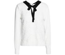 Pussy-bow macramé cotton-blend sweater