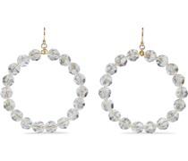18-karat Gold-plated Sterling Silver Crystal Hoop Earrings