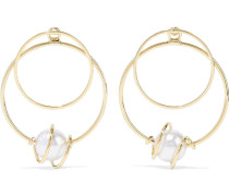-plated Faux Pearl Hoop Earrings