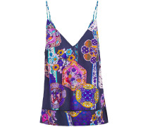 Woman Star Gazer Printed Cotton And Silk-blend Mousseline Top Indigo