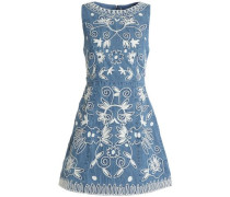 Flared embroidered cotton-chambray mini dress