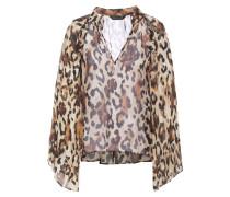 Ruffle-trimmed Leopard-print Chiffon Blouse