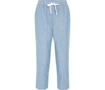 Hannah cotton-chambray pajama pants