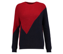 Two-tone Ribbed-knit Sweater Rot