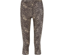 Cropped Leopard-print Stretch Leggings Leoparden-Print