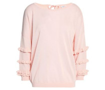 Ruffle-trimmed knitted top
