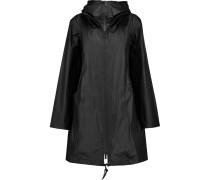 Coated Linen And Cotton-blend Hooded Jacket Schwarz