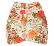 Joanna Floral-print Cropped Basketweave Top Mehrfarbig