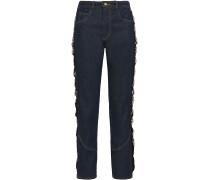 Embellished Grosgrain-trimmed High-rise Straight-leg Jeans