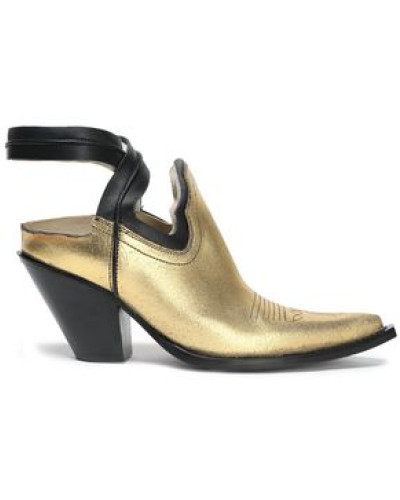 Woman Cutout Metallic Leather Ankle Boots Gold